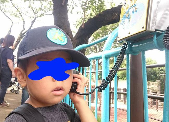 野毛山動物園・説明を聞く長男